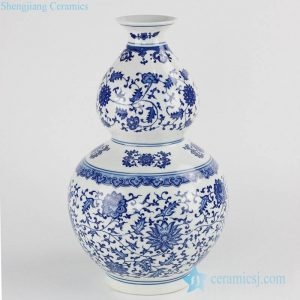 RZKE01 Cobalt blue color floral mark gourd shape porcelain vase