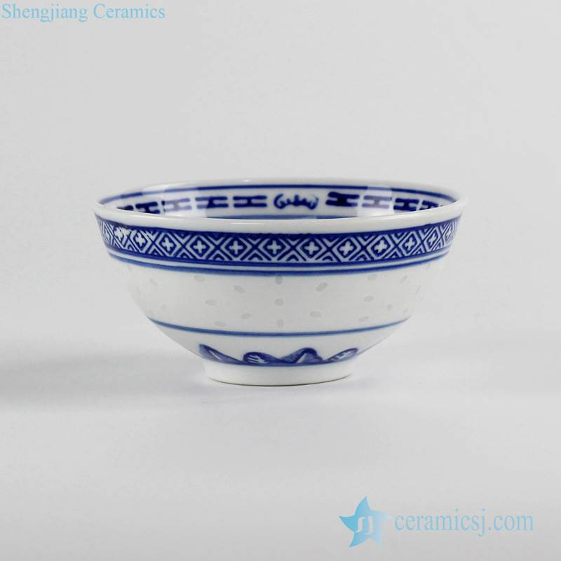 blue and white Jingdezhen China traditional rice pattern ceramic bowl