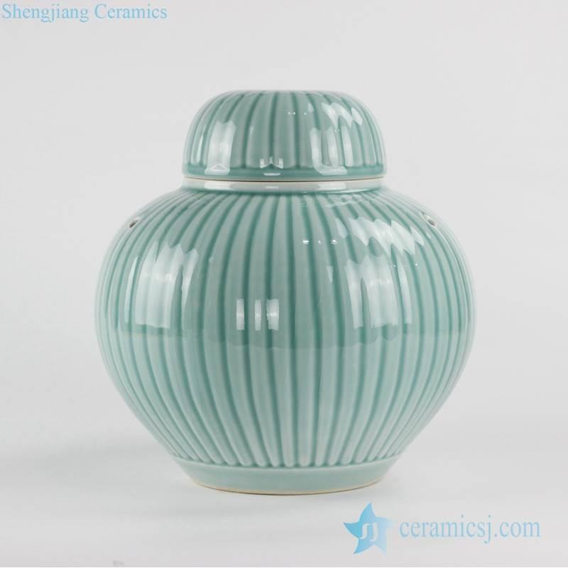 China furnishing carved stripe design celadon glaze plain color small green ceramic jar
