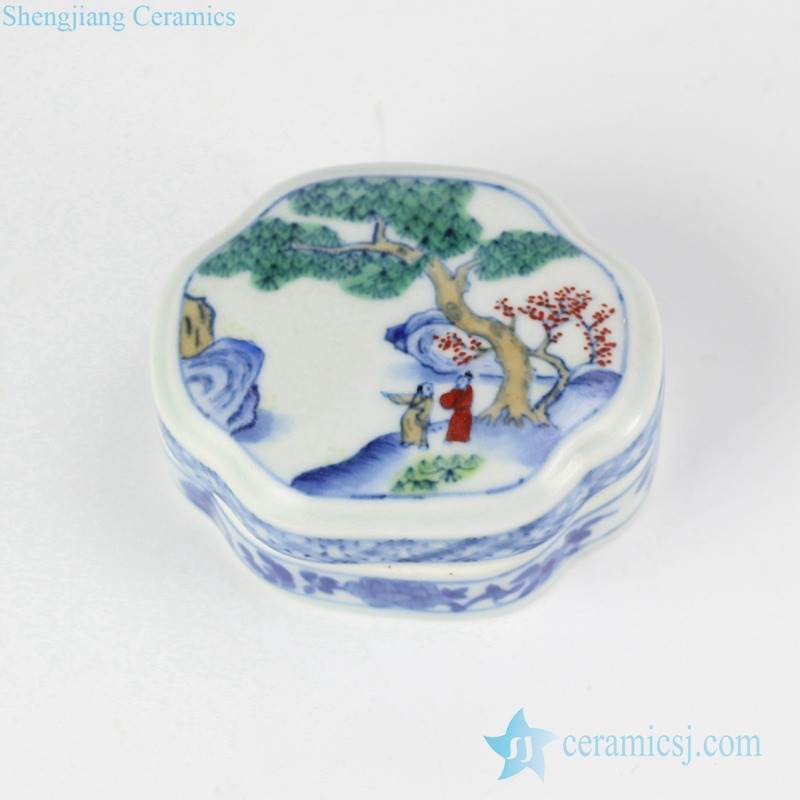 discount price hand painted ancient Chinese pattern ceramic cosmetic box Jewel gift container