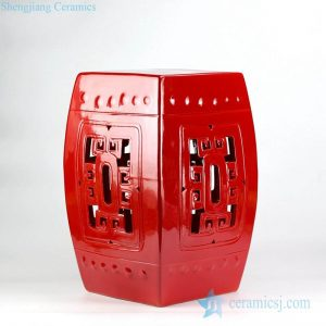 RYDB53-B Jubilant China red color hollowed out square ceramic sitting stool for patio
