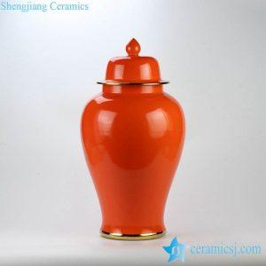 RYKB112-M Clementine orange color golden line glided ceramic temple jar for online sale