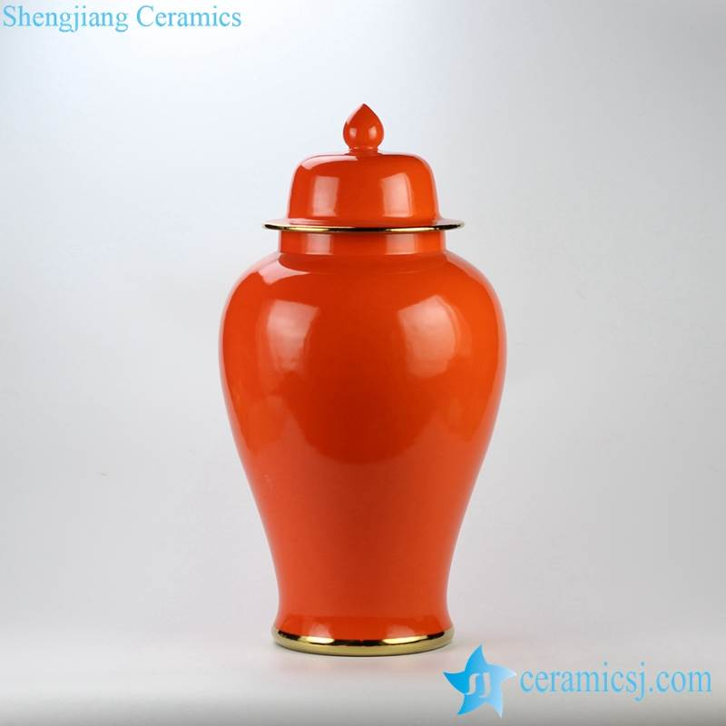 Clementine orange color golden line glided ceramic temple jar for online saleClementine orange color golden line glided ceramic temple jar for online sale