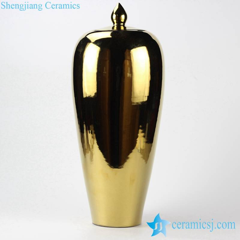 RYKB119-G Slim and tall golden ginger jar with candle knob