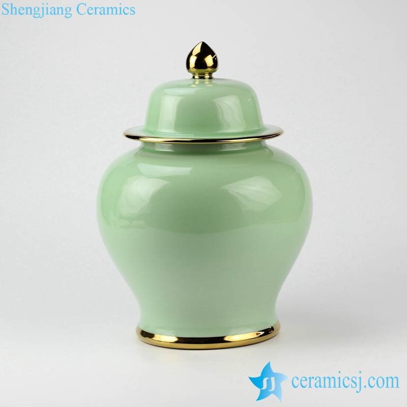 Bedchamber decorative celadon glaze gold pleated line medium size ceramic ginger jar