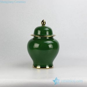 RYKB131-M Jade color collectible value ceramic cookie jar with gold line