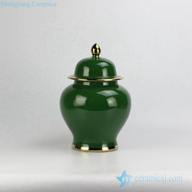 Jade color collectible value ceramic cookie jar with gold line