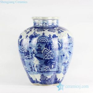 RYLU100 Exquisite melon ridge design blue and white ancient China landscape pattern ceramic vase
