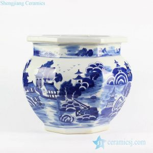 RYLU101-B medium size cobalt blue China style landscape pattern handicraft porcelain planter for selling online