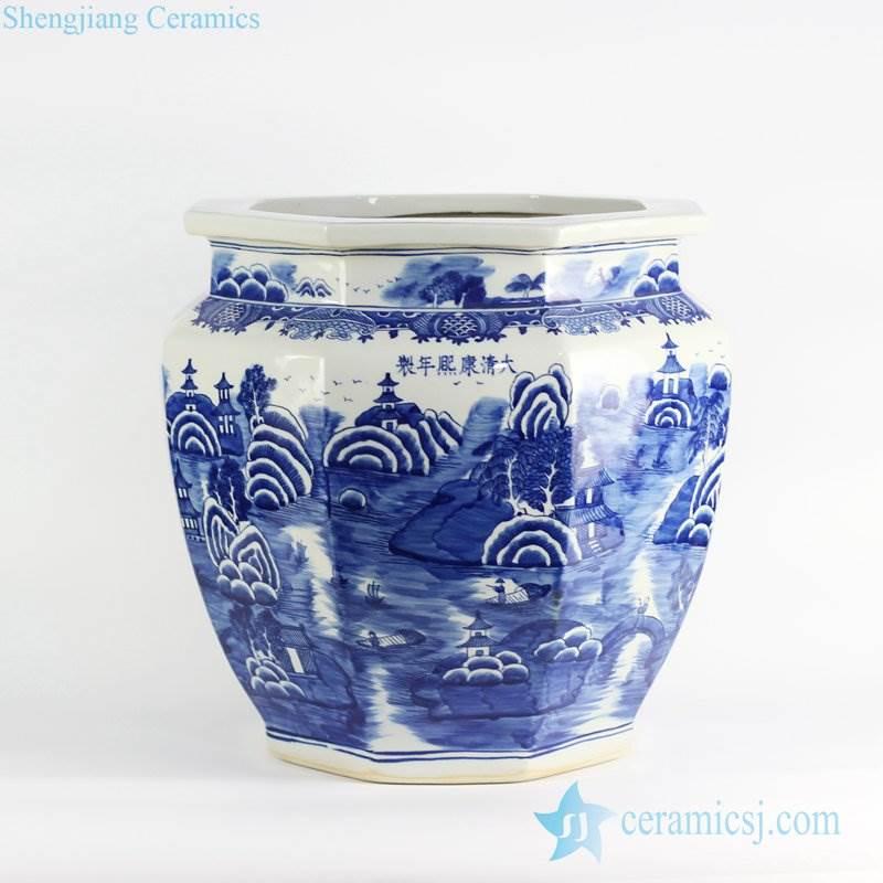 six sides large ceramic outdoor pot