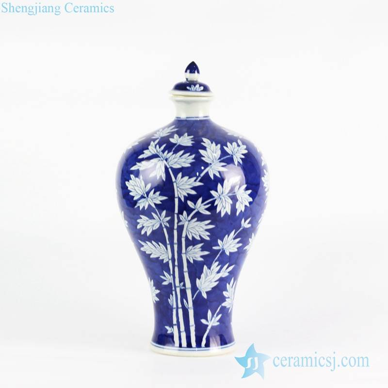 Bamboo pattern blue and white color hot sale item ceramic vase with lid