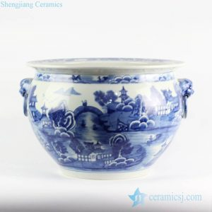 RYLU105 Lion handles blue and white hand paint landscape boutique china ware ceramic water pot