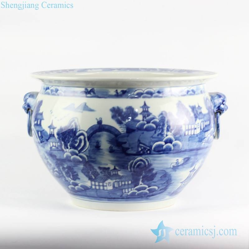 Lion handles blue and white hand paint landscape china ware ceramic water pot