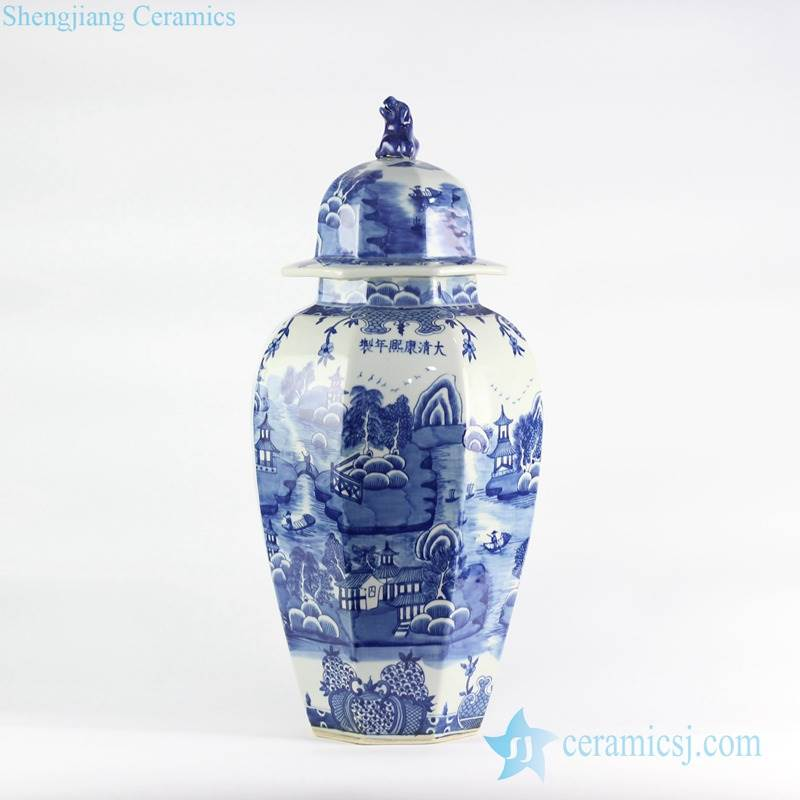 Oriental water town pattern handicraft tall porcelain jar with lid