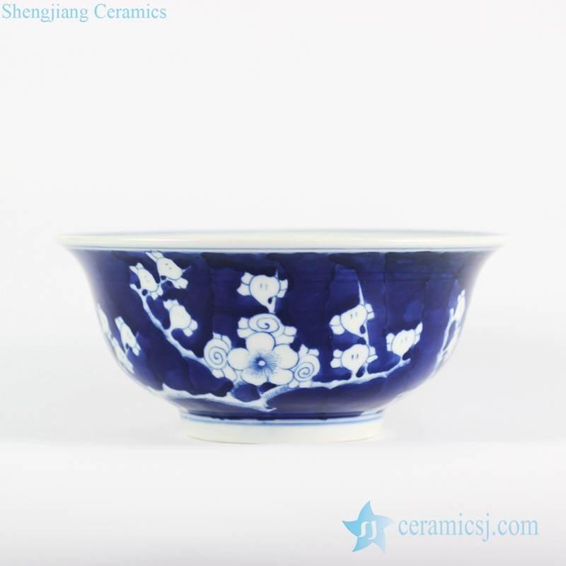 Dark blue color background cherry blossom pattern Jingdezhen artisan made ceramic art bowl