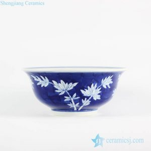 RYLU107-B Hand paint bamboo pattern interior design blue and white big ceramic bowl