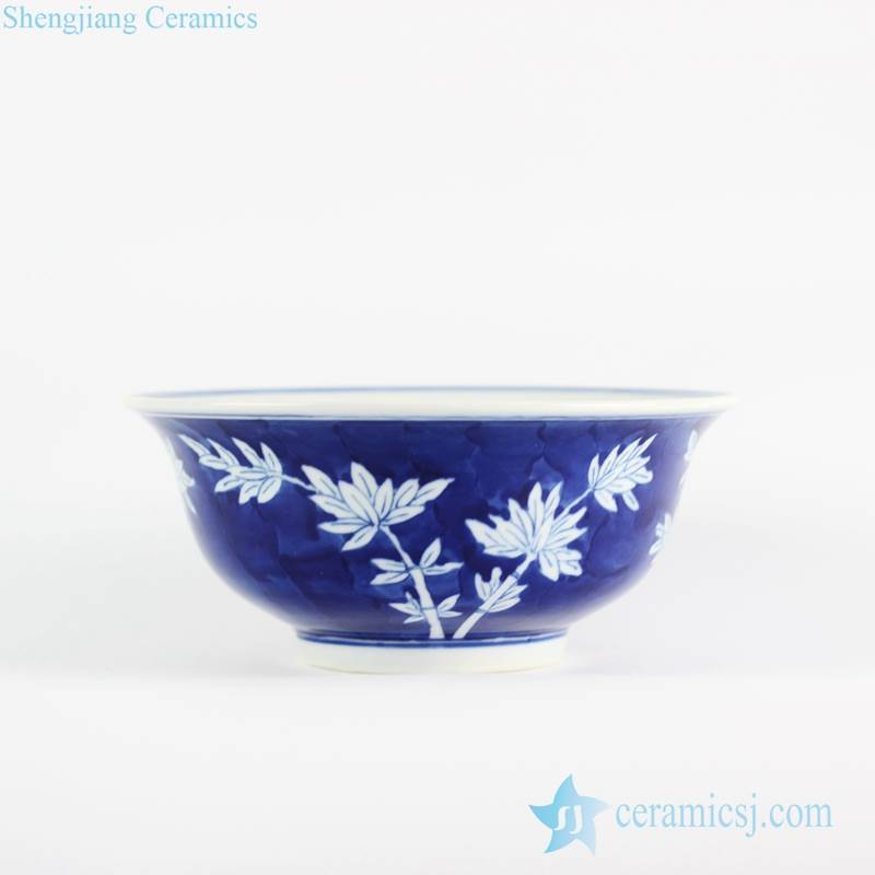 Bamboo pattern blue and white big ceramic bowl