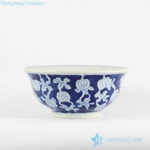 RYLU107-c Asian design blue color body white water melon pattern hand drawing large size porcelain ceramic bowl