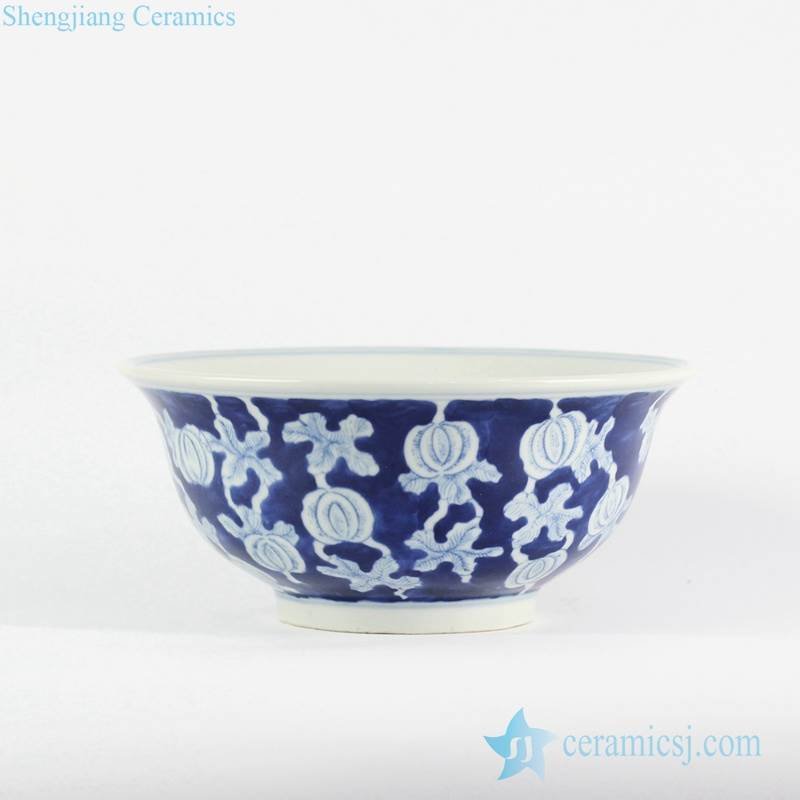 Asian design blue color body white water melon pattern hand drawing porcelain ceramic bowl