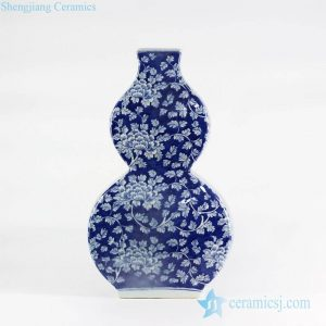 RYLU108-B Flourishing flower pattern hand drawn double gourd shape ceramic vase