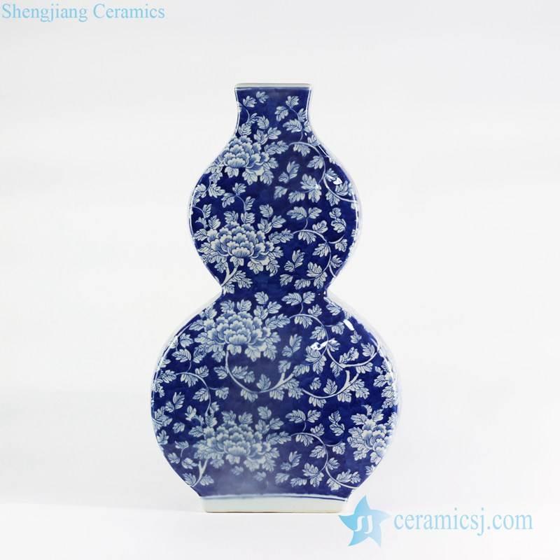 Flourishing flower pattern hand drawn gourd shape ceramic vase