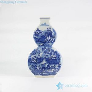 RYLU108-C Flat calabash shape blue and white hand drawing Chinese town pattern ceramic vase