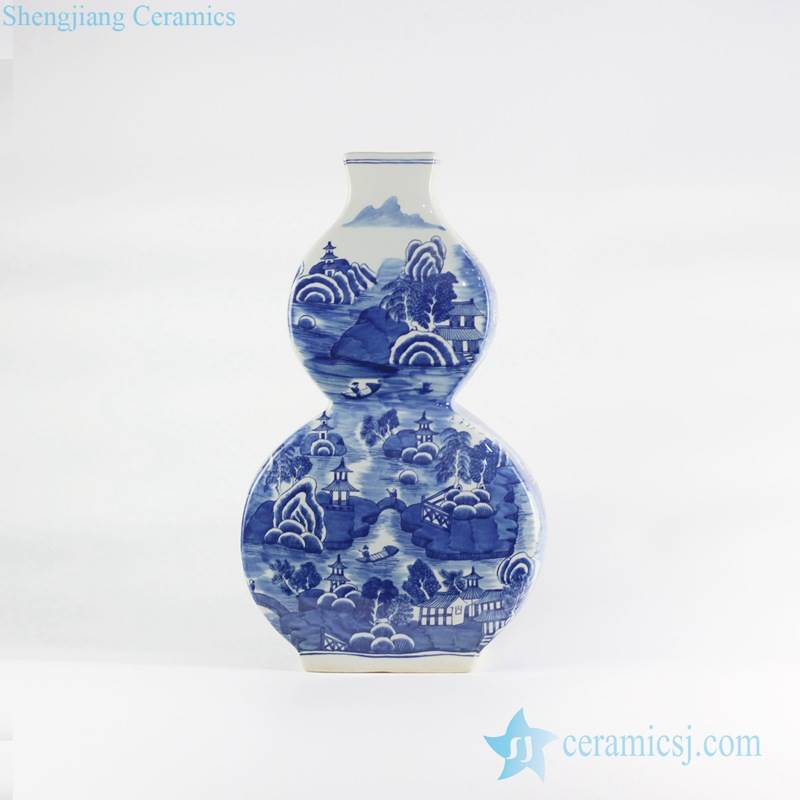 Flat calabash shape blue and white hand drawing Chinese town pattern ceramic vase