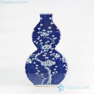 RYLU108 Flat double gourd shape creative free hand scketch cherry blossom pattern European ornament porcelain vase