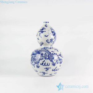 RYLU111 Calabash shape dragon design JDZ traditional porcelain vase