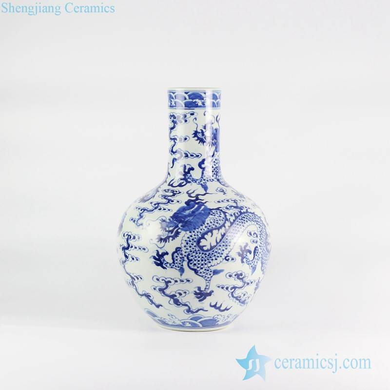 Globular shape long tube neck hand drawn fire dragon pattern ceramic artificial flower vase