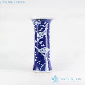 RYLU114 Mushroom shape blue and white cherry blossom hand drawing pattern ceramic artificial flower vase