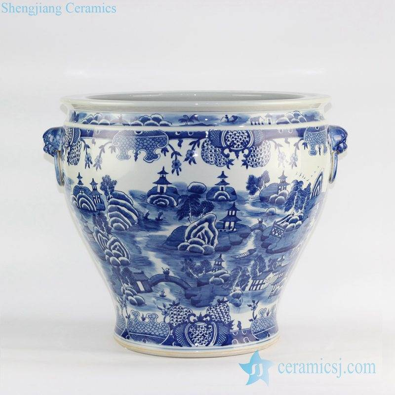 Jingdezhen design oriental scenic view pattern hand drawn blue and white large vintage pot with lion handles