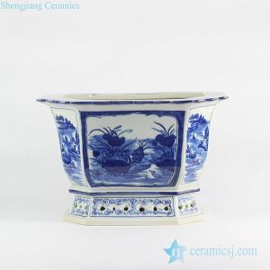 RYLU121 blue and white hand paint vintage style commercial ceramic planter