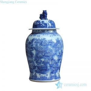 RYLU123 Blue and white lover collection landscape pattern and foo dog lid design tall delft ceramic ginger jar