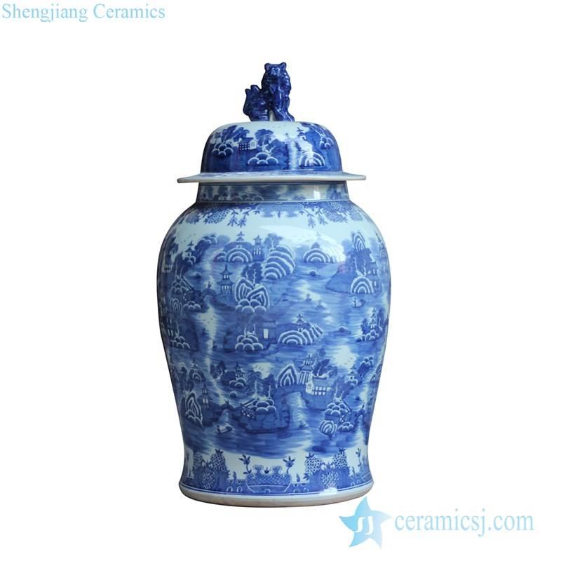Blue and white lover collection landscape pattern and foo dog lid design delft ceramic ginger jar