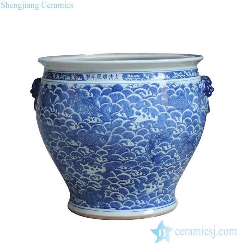 Antique copy reproduction Qing Dynasty Kangxi emperor period large ceramic fish bowl pot