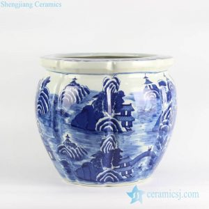 RYLU127 Outdoor melon edge design hand drawing blue and white ceramic planter
