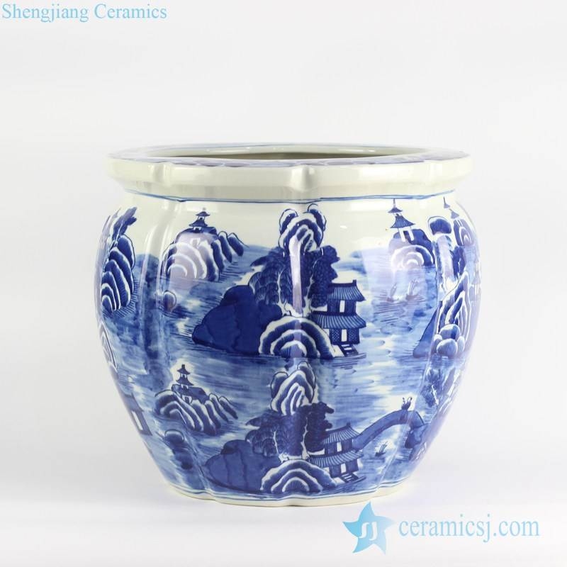 Outdoor melon edge design hand drawing blue and white ceramic planter