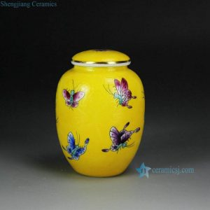 RYMY23 Needle painting famille rose colorful butterfly small ceramic tea caddy for internet sale