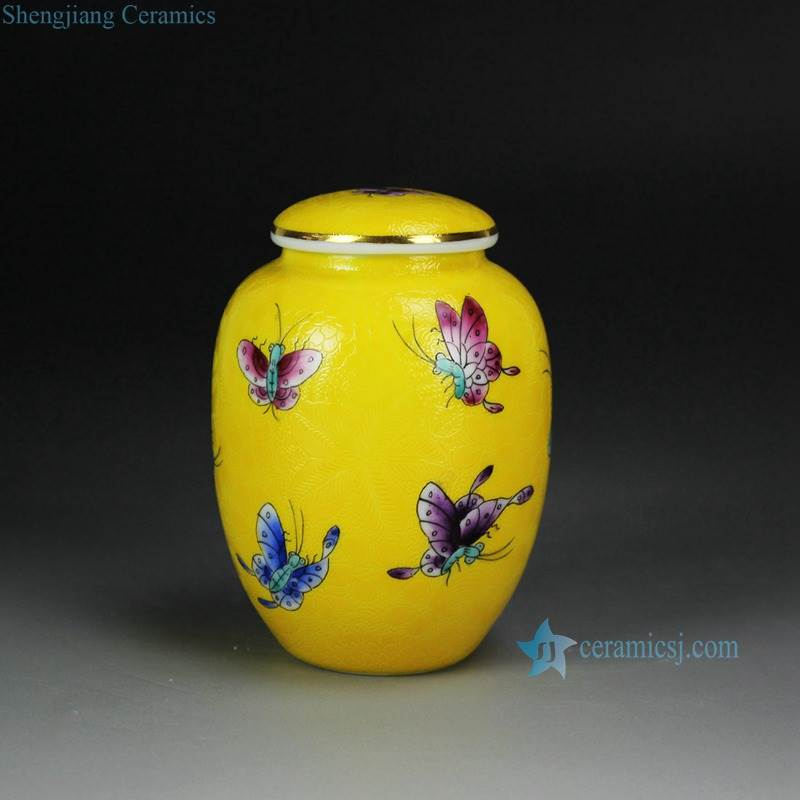 Sealed yellow color butterfly pattern ceramic tea caddy