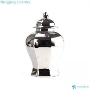 RYNQ166-B Silver mirror finish Jingdezhen artisan made ceramic home decor jar