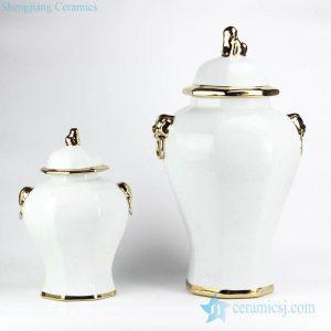 RYNQ166-C European style simple white color golden line pleated ceramic home decor jar