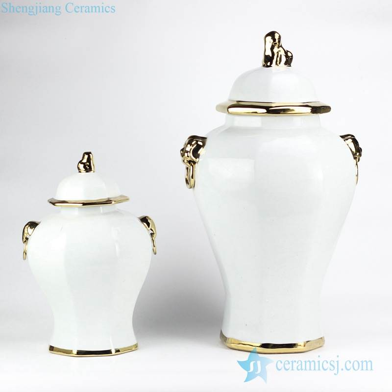 European style simple white color golden line pleated ceramic home decor jar