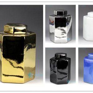 RYNQ179-A/B/C/D/E Pantone color bespoke six sides ceramic jars