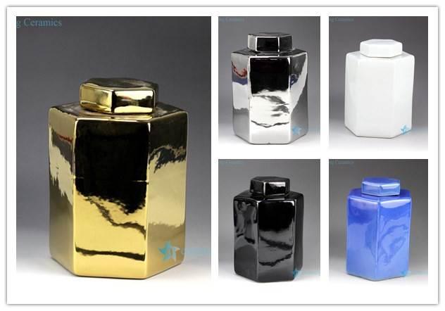 Pantone color bespoke six sides ceramics jar