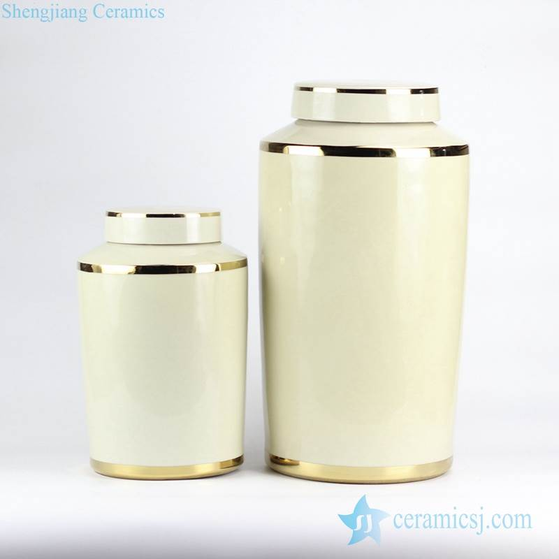 set of two milk color modern porcelain jar