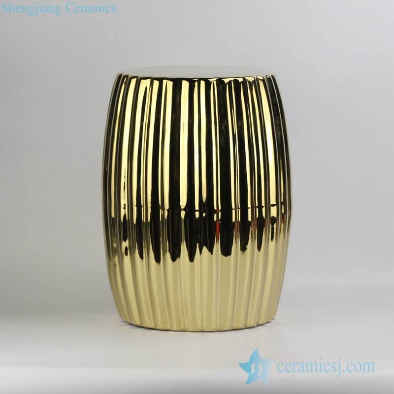 Pleated surface design end table usage golden gilded porcelain stool