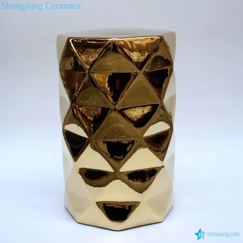 Gold pleated diamond sparkles ceramic stool