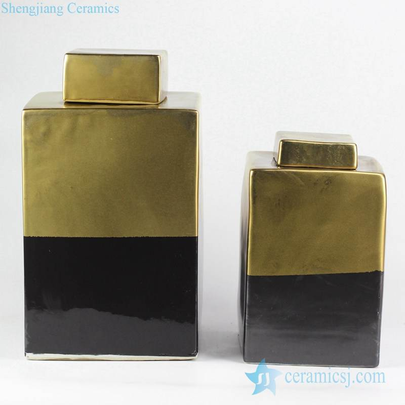 Contrast color style black and gold square pair pottery jar