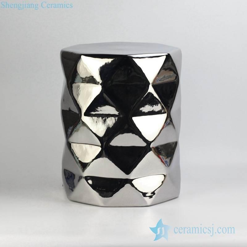 Silver pleated mirror shiny surface ceramic diamond stool